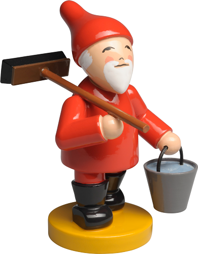 Gnome / Fairy / Elf with Broom and Bucket