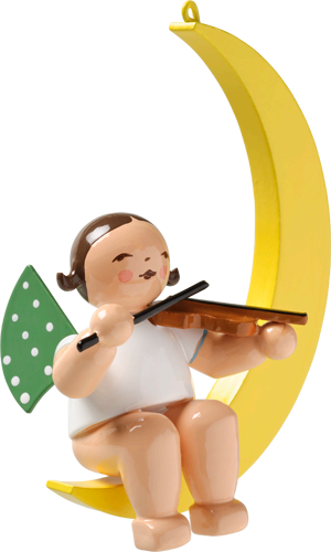 Angel on the Moon with Violin - Ornament / 3-1/4 inch tall