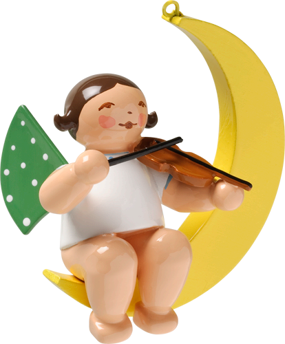 "Angel on the Moon with Violin - Ornament / 1-3/4"" tall"