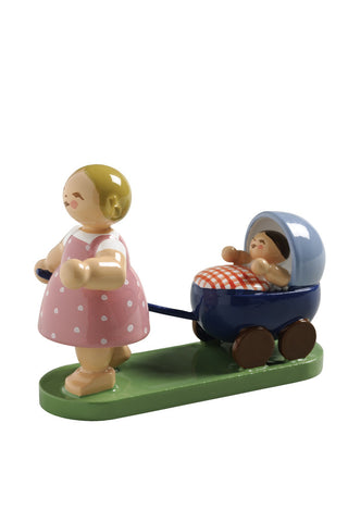 Girl with a Baby Doll Buggy