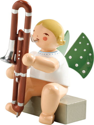 Angel Orchestra Seated Musician with Contrabassoon