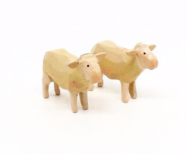 "Sheep, Pair of hand-carved - 1"" / Size Small"
