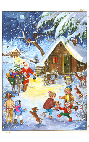 Santa Bringing Gifts with his Donkey - Advent Calendar GREETING CARD