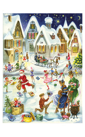 Santa's Skating Party - Advent Calendar GREETING CARD
