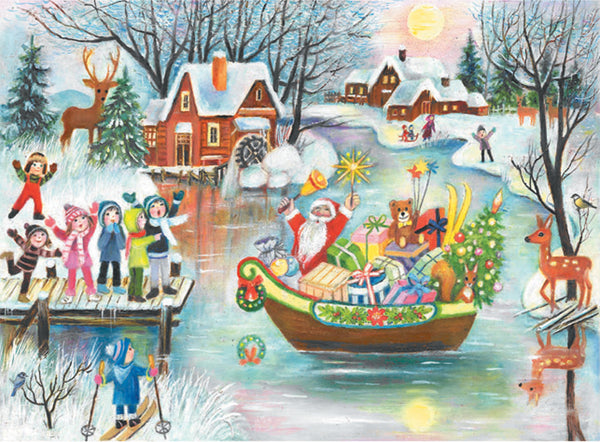 Santa Arriving on a Boat - Advent Calendar GREETING CARD