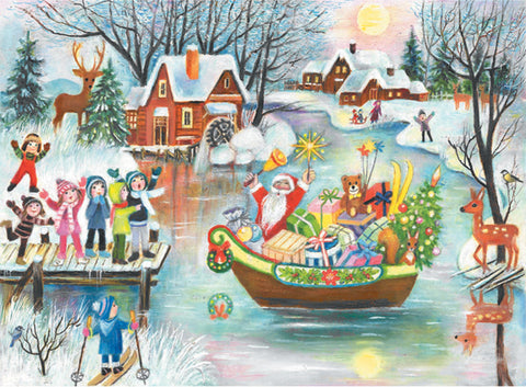 Santa Arriving On A Boat