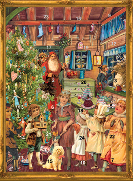 Victorian Santa's Workshop - Advent Calendar GREETING CARD