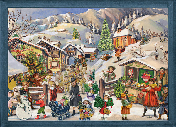 Snowy Alpine Village Scene / Victorian - Advent Calendar GREETING CARD