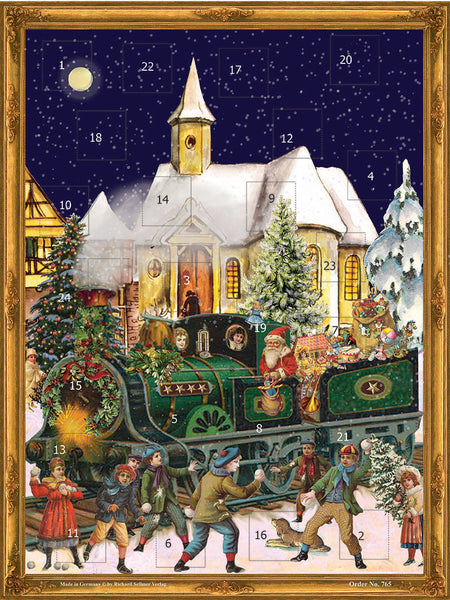 Santa's Train with Victorian Children / Advent Calendar