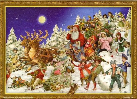 Santa's Sleigh with Victorian Children / Advent Calendar