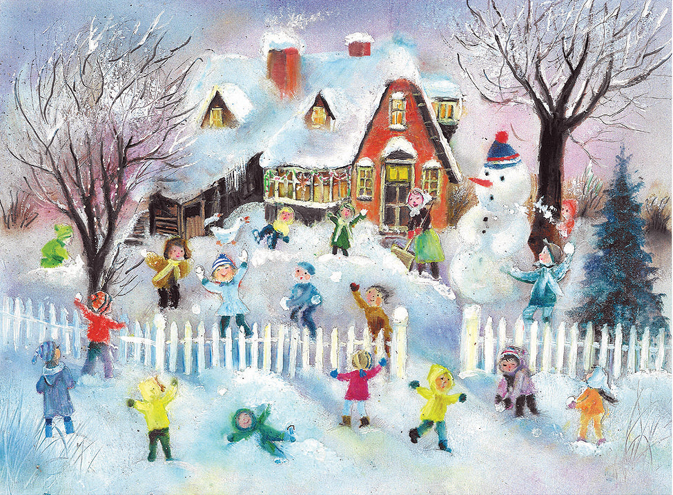 Children Playing in the Snow - Advent Calendar GREETING CARD