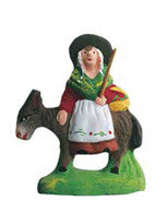 Woman on  a Donkey - Femme sur l'âne - Size Puce (Flea) / Chip