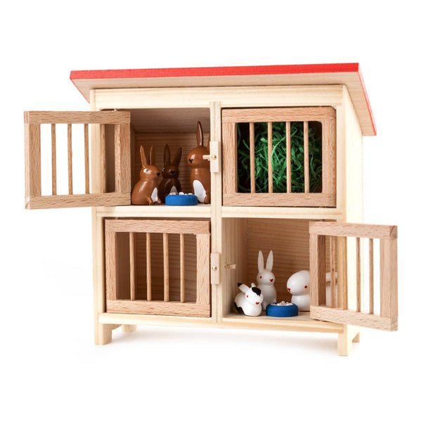 Large Rabbit Hutch with Six Rabbits