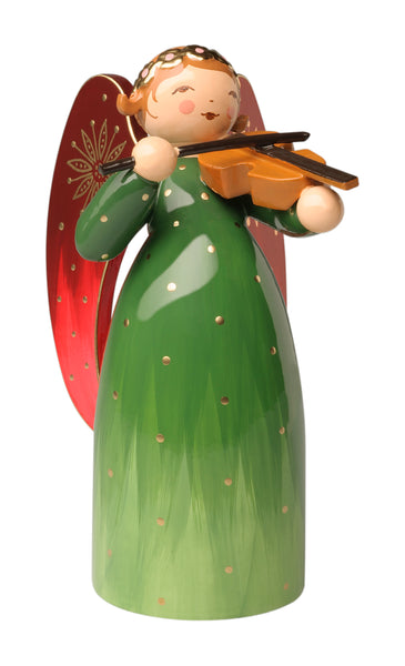 Green Richly Painted Angel with Violin / New 2020