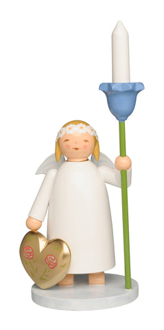 Marguerite Angel with Heart and Wooden Candle / New 2020 / Coming Soon