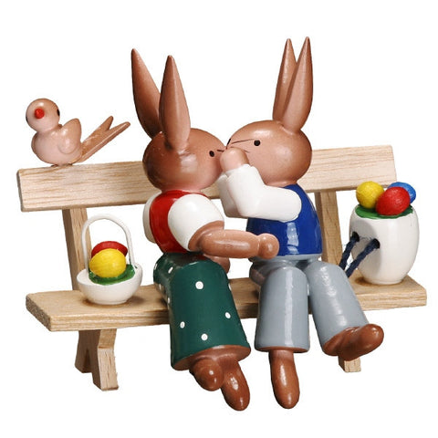 Easter Bunnies Kissing on a Bench