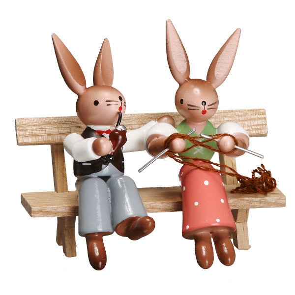 Bunny Couple Relaxing on a Bench