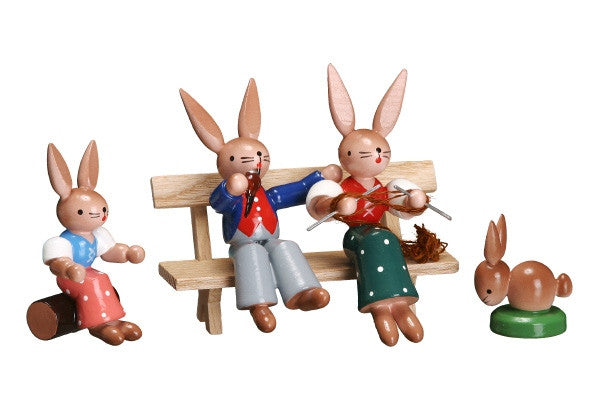 Bunny Family on a Bench with Rabbit