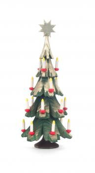 Hand-carved Christmas Tree with Candles and a Star Atop / 5-1/2""