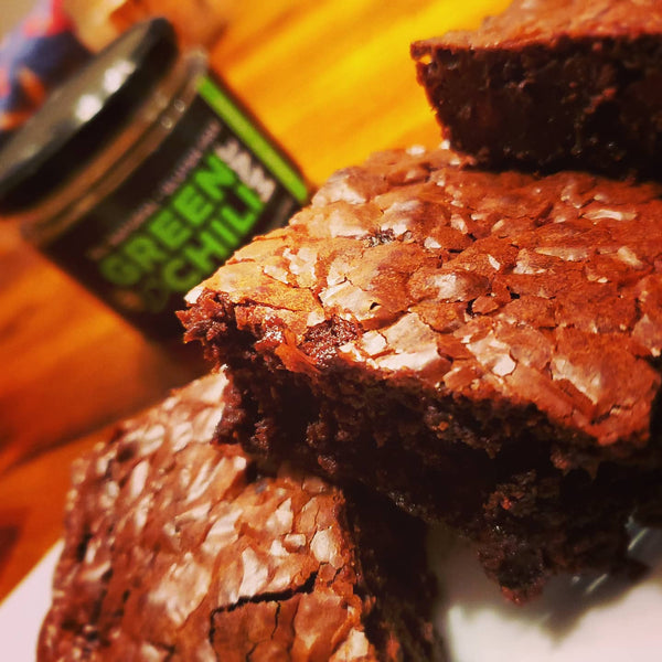 Lazy Green Chili Jam Brownies