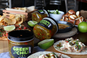 Green Chili Jam, our all-natural, gluten-free, vegan sweet and spicy jam