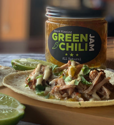 Green Chili Jam Pork Tacos