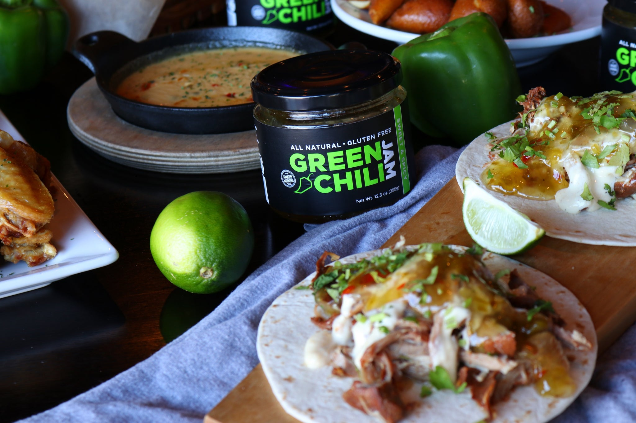 Big Whisk Brands' Green Chili Jam, all-natural, vegan, gluten-free sweet and spicy pepper jam. Full of flavor and sweet heat!