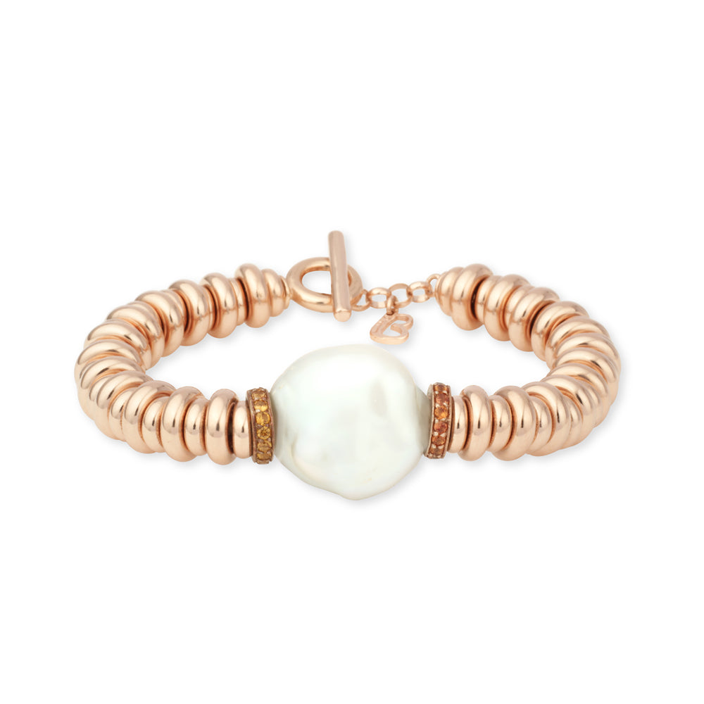 Bracelet Moon Shiny 8/6mm with Pavè Shappires natural greenand baroque pearl