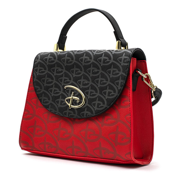 LOUNGEFLY - Red/Blk Disney Logo Debossed Cross Body Bag W/Removable STRAP