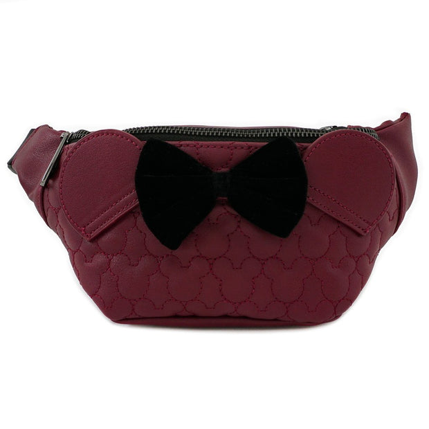 LOUNGEFLY - DISNEY MAROON MINNIE QUILTED FANNY PACK