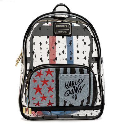 LOUNGEFLY - Birds of Prey Harley QUINN Clear Mini Backpack