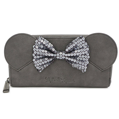 LOUNGEFLY - DISNEY MINNIE MOUSE GRAY SEQUIN BOW WALLET