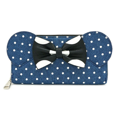 LOUNGEFLY - MINNIE MOUSE DENIM POLKA DOT WALLET