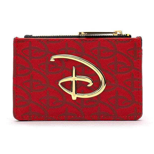 LOUNGEFLY X DISNEY RED/BLACK DEBOSSED LOGO CARDHOLDER/COIN PURSE
