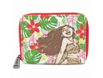 LOUNGEFLY - DISNEY MOANA FLORAL ZIP AROUND WALLET