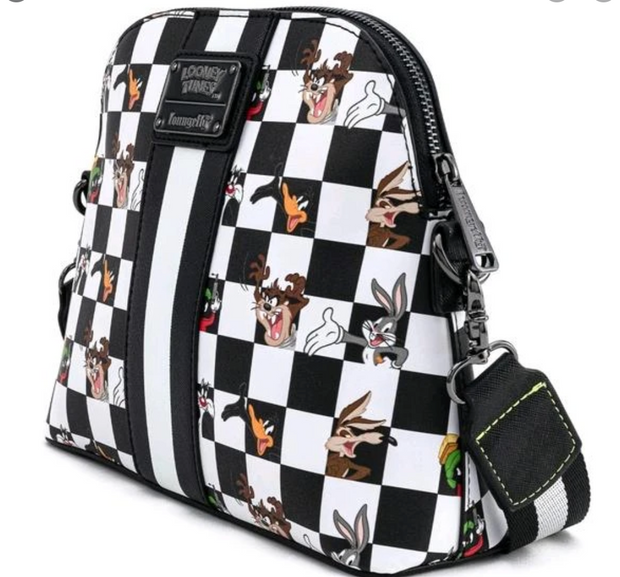 LOUNGEFLY - LOONEY TUNES BLK/WHT CHECK CHARACTER CROSS BODY BAG