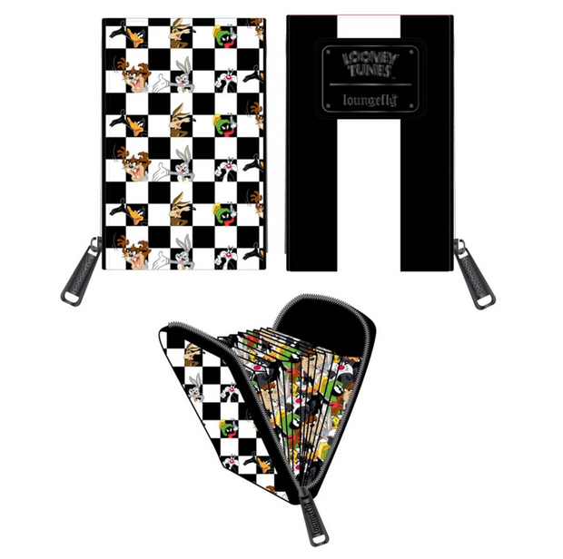 LOUNGEFLY - LOONEY TUNES BLK/WHT CHECK ACCORDION CARD HOLDER
