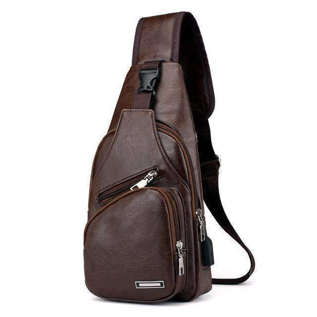 A+ Gadgets  -  Leather Shoulder Sling Bag (Charging Port)  -  Brown / 34x16x10cm  -  Shoulder Bag