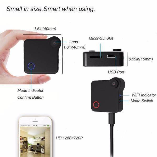 Premium WiFi Portable HD Mini Camera  -  Black / BUY ONE  -  Honey Locker -  HD Mini Camera