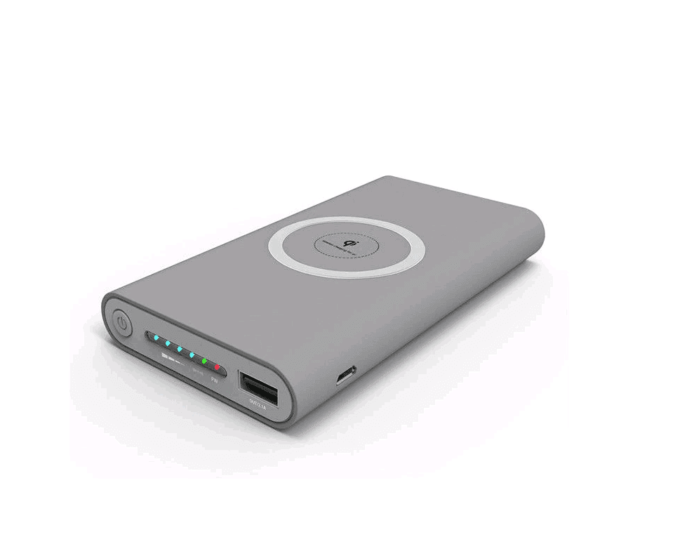 Qi Wireless Charger - 10000mAh Universal Portable Power Bank For iPhone & Android  -  Gray  -  Honey Locker -  POWER BANK