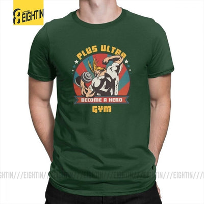 My Hero Academia Plus Ultra Gym Costume T Shirts Pure Cotton Short Sleeves T-Shirts Crewneck Male Tees Novelty Plus Size Cartoon - izuku-shop