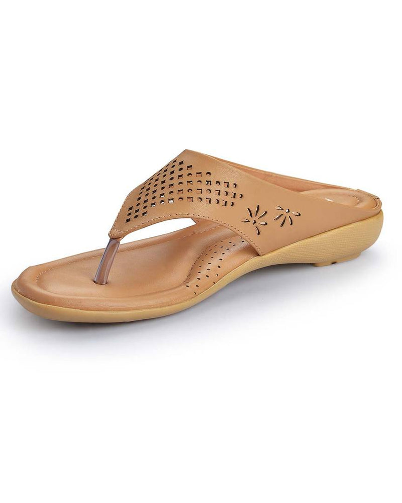 Beige Slip-On Synthetic Leather Slippers