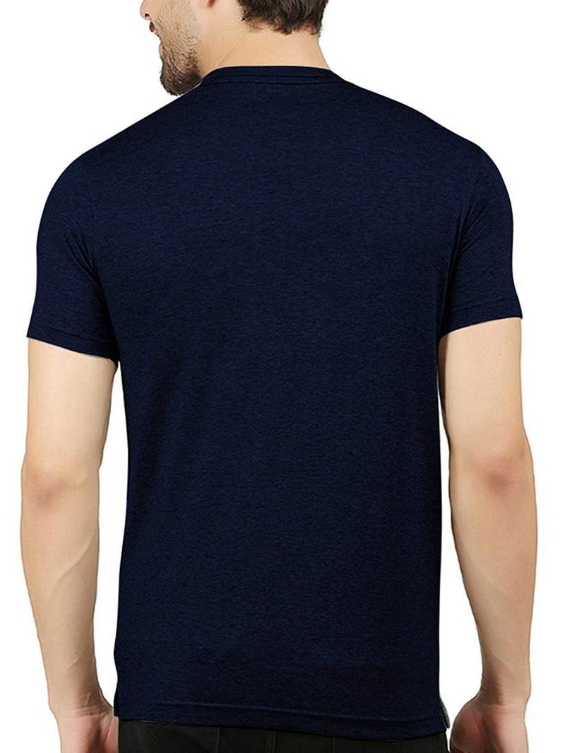 Men Blue Printed Cotton Blend Round Neck Tees