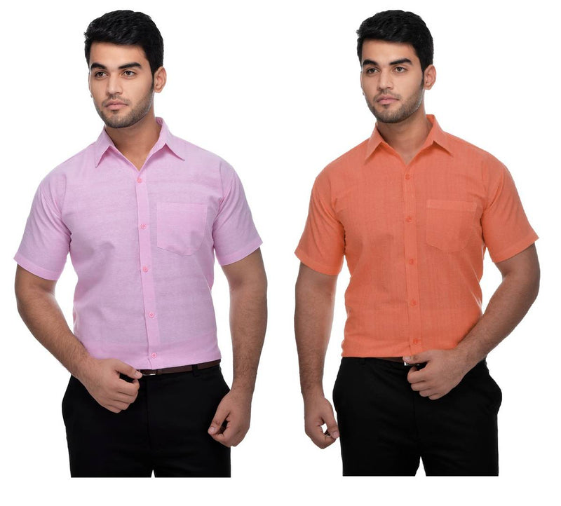 Buy 1 Get 1 Free Multicoloured Cotton Half Sleeve Solid Formal Shirt