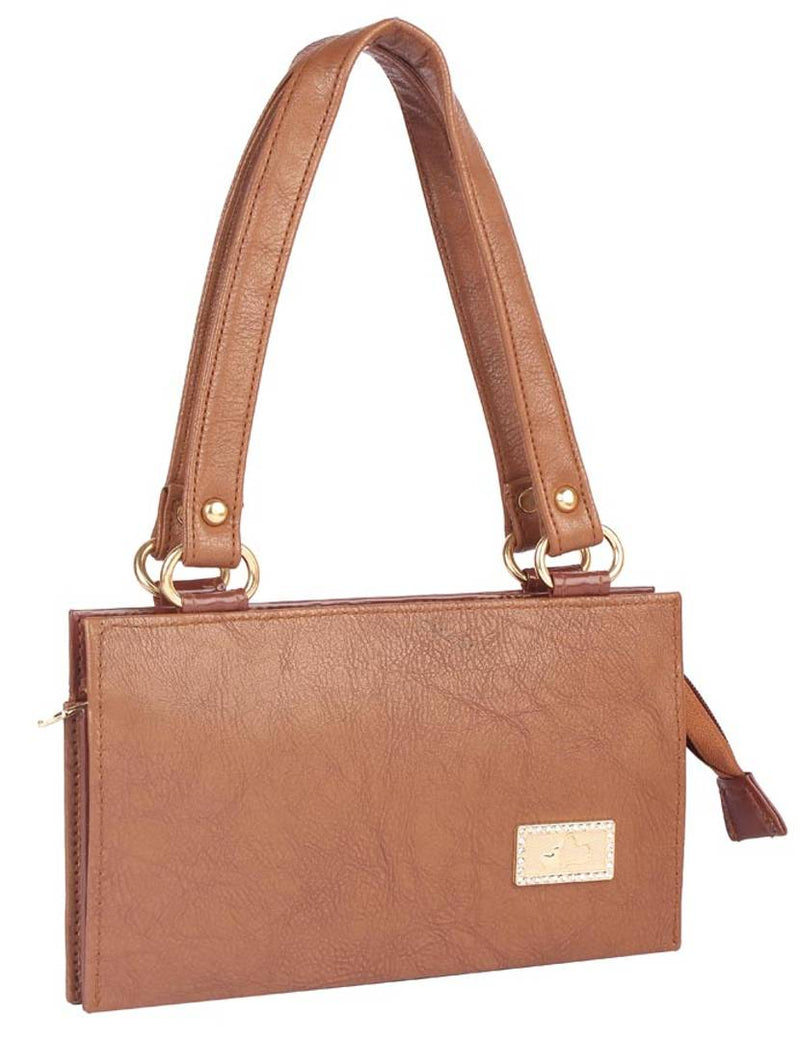 Faux Leather Coffee Brown Zipper Closure Handbag