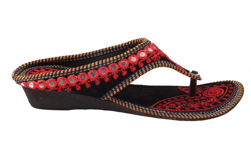 Red T-Strap Flats For Women