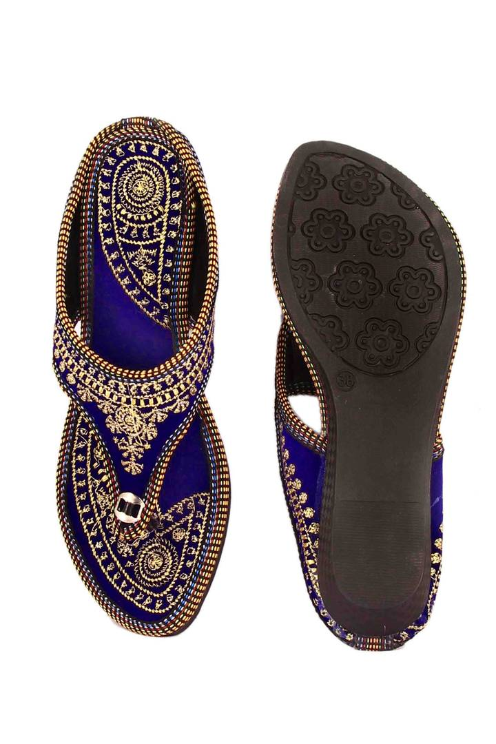 Blue T-Strap Flats For Women