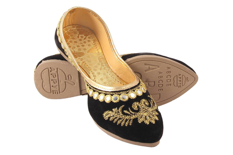 Black Nubuck Mojaris For Women