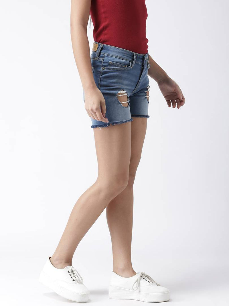 Pearl Layering Hollow Cut Out Raw Hem Blue Shorts