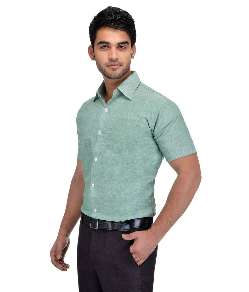 Green Cotton Solid Regular Fit Formal Shirt